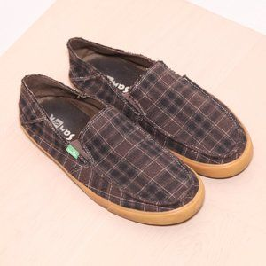 Snauk Brown Wool Plaid Loafers Size 9